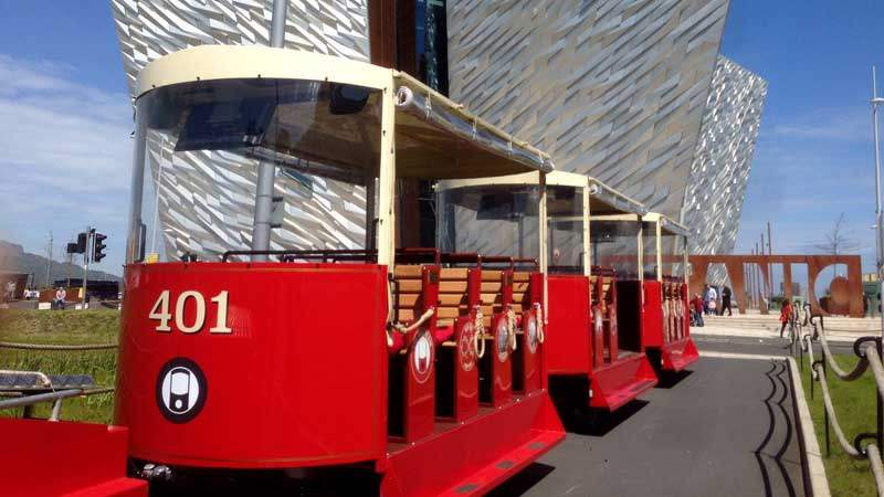 the wee tram a hop-on-hop-off tour of Titanic Quarter